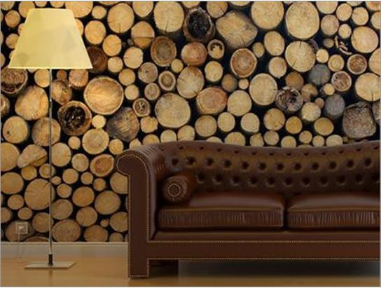Wooden Logs Wall Art POPSUGAR Home 544x411