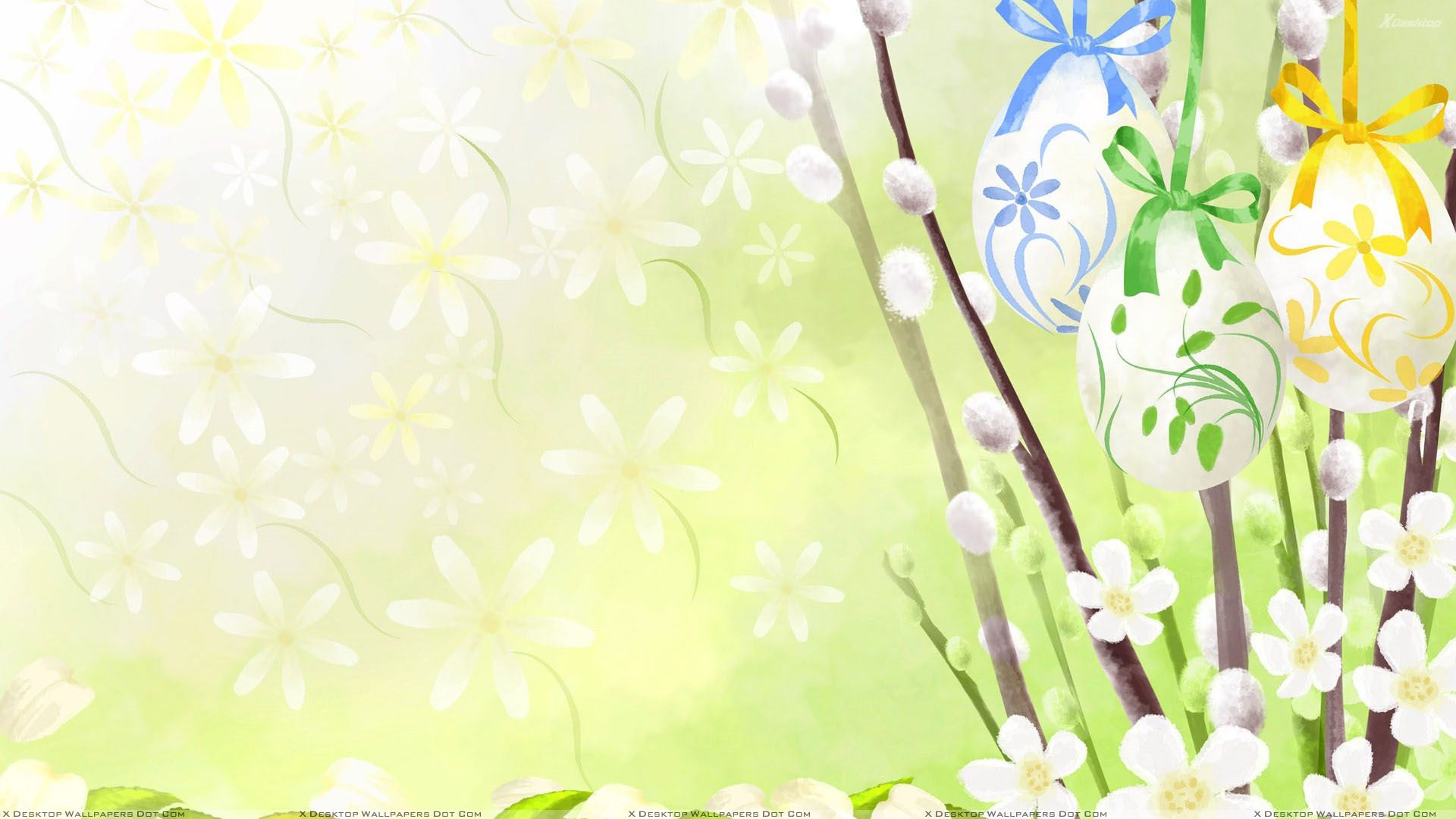 Artistic Easter Hanging Eggs And Flowers Wallpaper 1920x1080