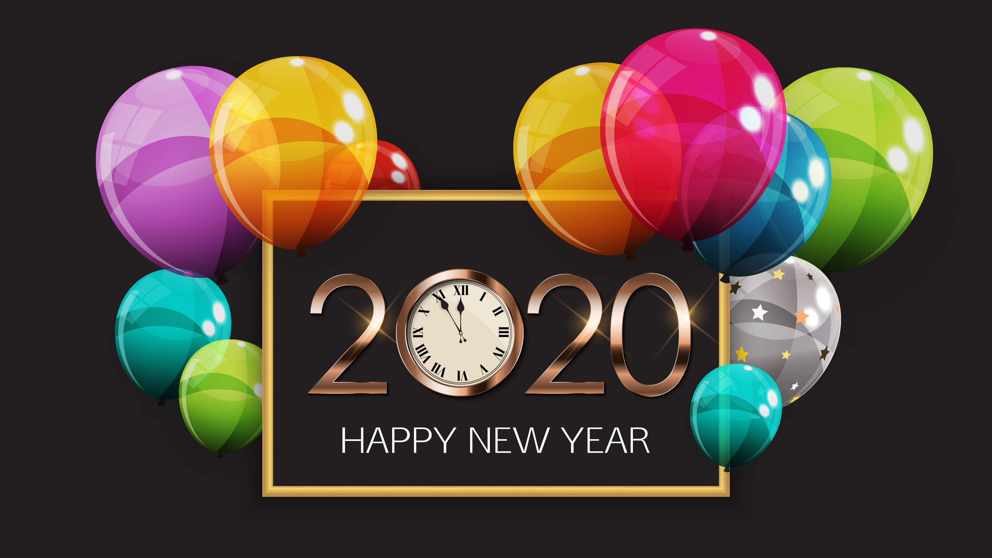 Happy New Year 2020 Balloons Clock 4K Wallpaper 6991   Baltana 3840x2160