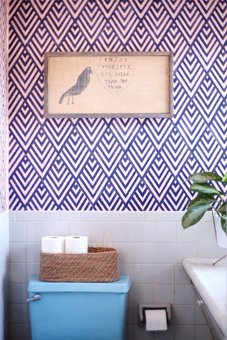 Accent Wall Inspiration DIY Faux Wallpaper 736x1104