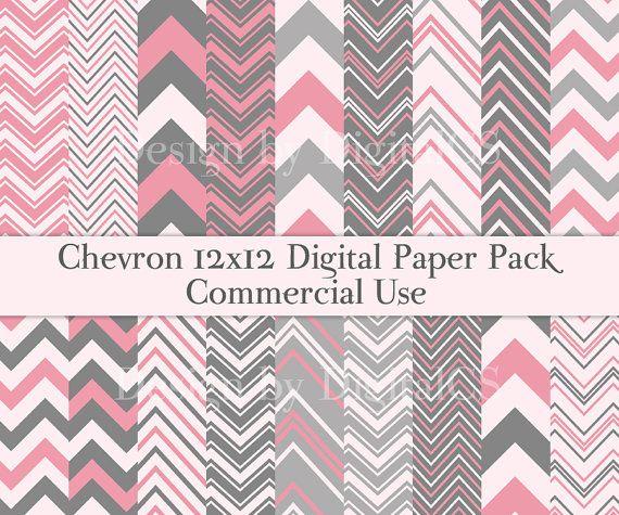 Chevron scrapbook paper Pink Gray Chevron Digital paper pack 12x12 Pr ...