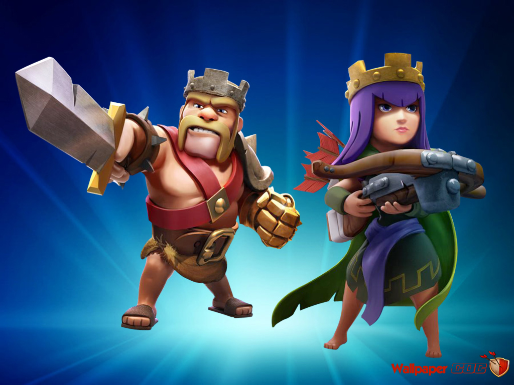 Barbarian King and Archer Queen Wallpaper Clash Of Clans 1024x768