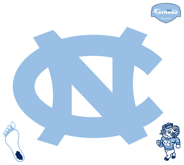 North Carolina Tar Heels Resized Logo Fathead NCAA Wall Graphic 618x555