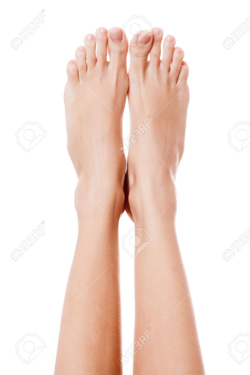 Close Up Image Of Woman Bare Feet Isolated On White Background 866x1300