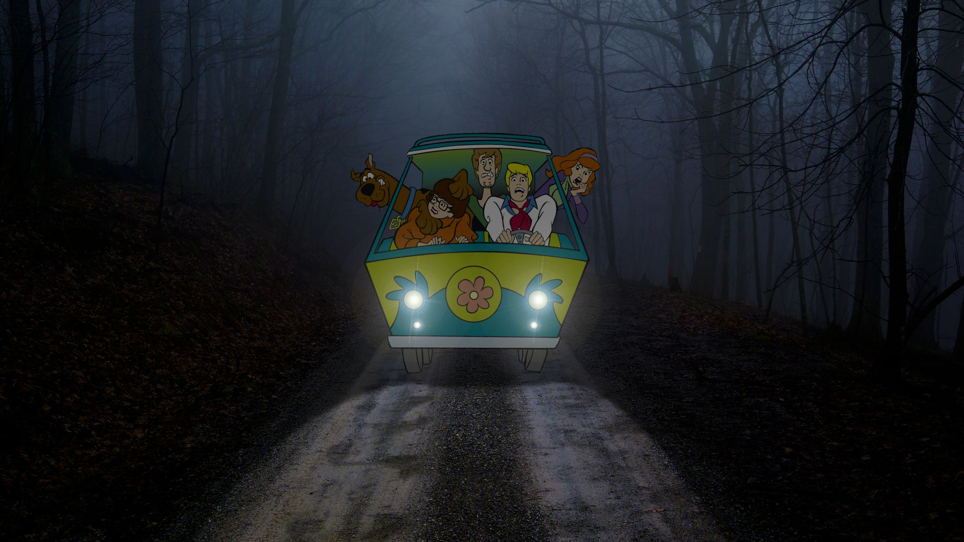 Scooby Doo gang wallpaper Mystery Machine van with Scooby and his 1920x1080