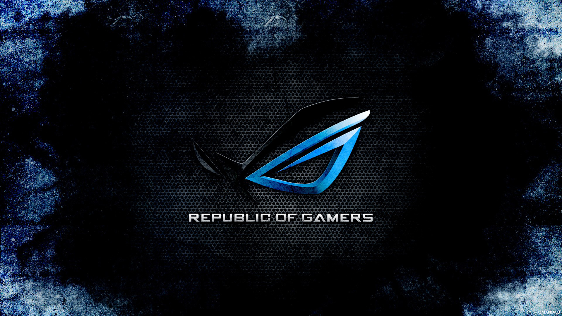 rog republic of gamers logo dark blue hd 1920x1080 1080p wallpaper 1920x1080