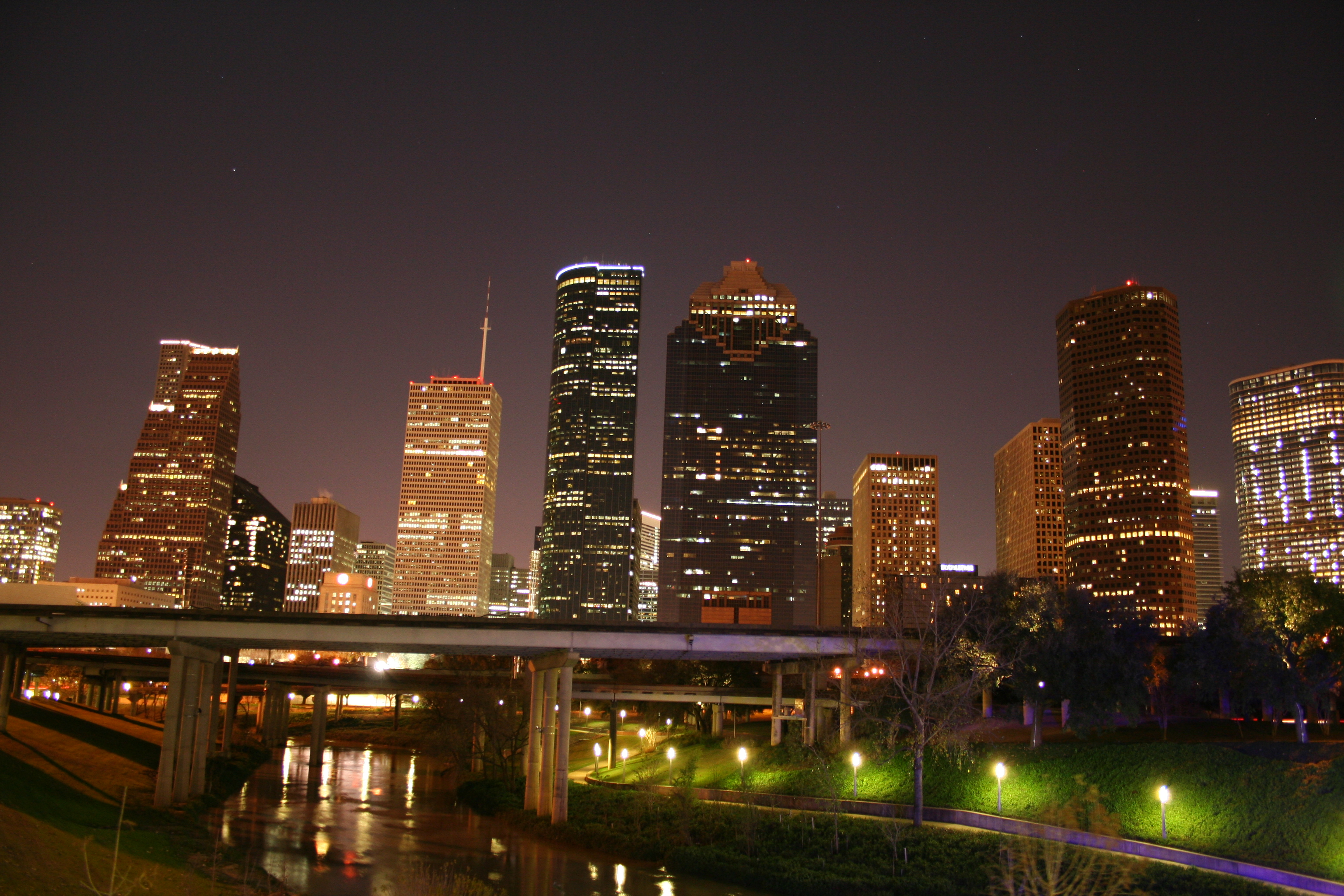 Downtown Houston Skyline NightJPG   Wikipedia the encyclopedia 3456x2304