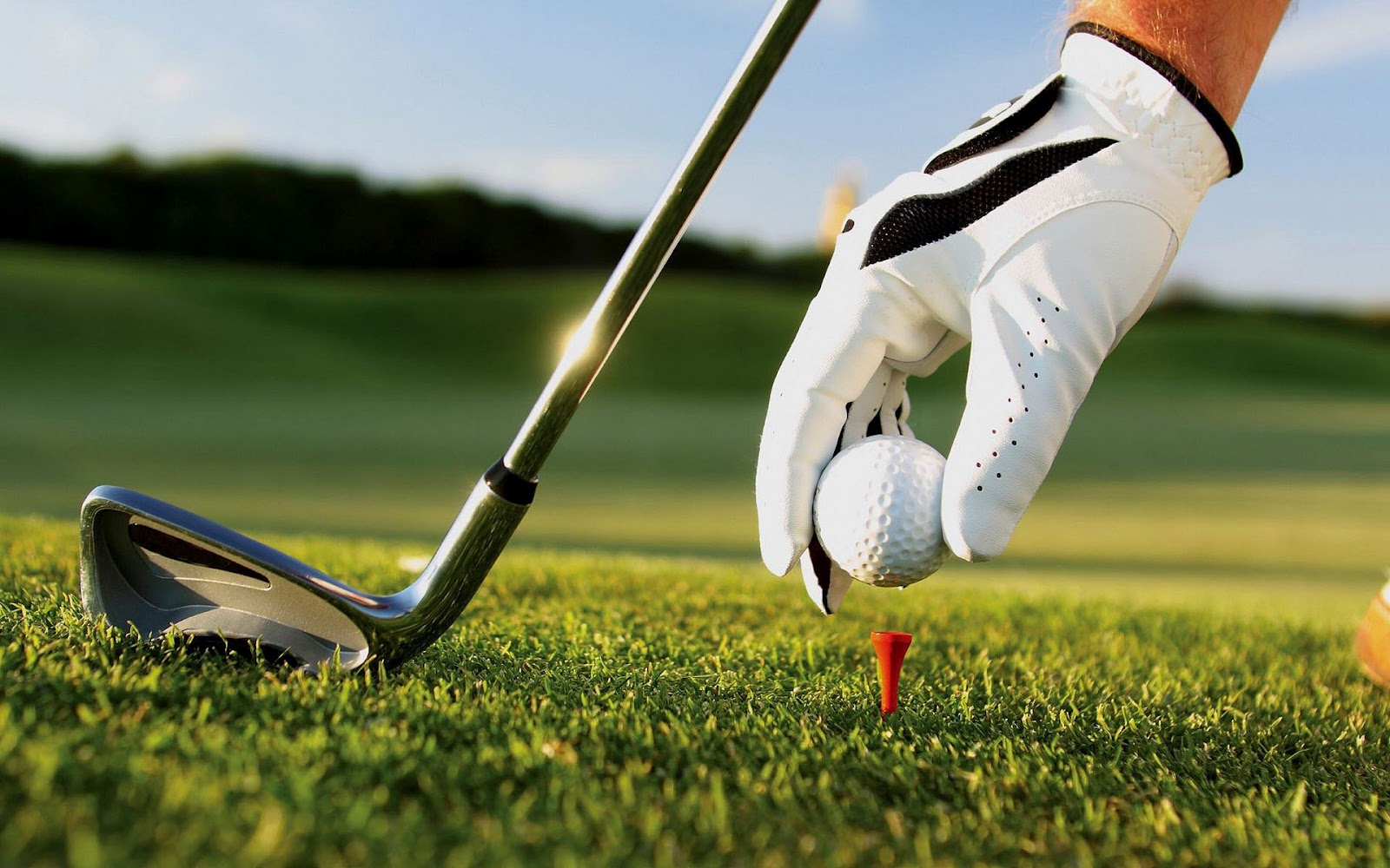 Sports wallpaper with someone putting a golfball on the tee 1600x1000