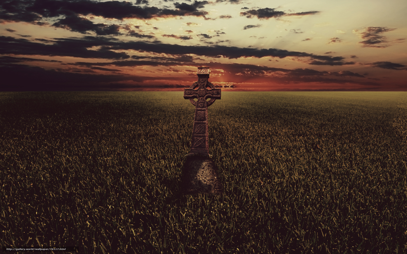 Download wallpaper field grass cross Celtic cross desktop 1600x1000