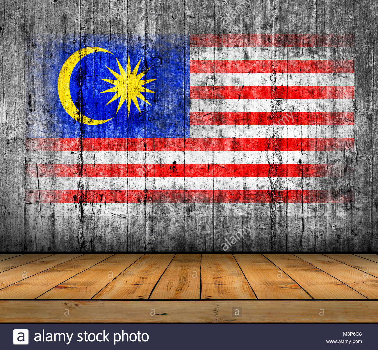 Malaysia flag painted on background texture gray concrete with 1300x1202