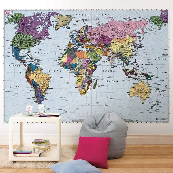 Colorful World Map Wall Mural Wallpaper D Marie Interiors 600x600