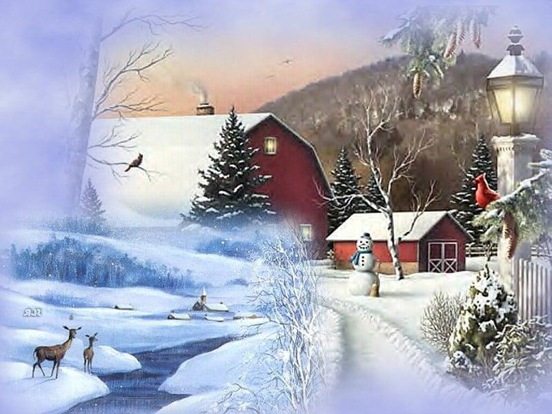 Christmas Scene Screensaver Wallpaper: Country Winter Wallpaper For Desktop