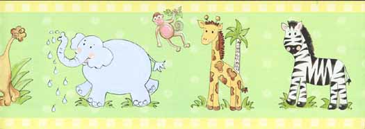 Zoo Animals Wallpaper Border Wallpaper Border YH1597BD   Wallpaper 525x186
