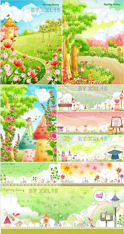 Cute spring backgrounds 2 Vectors 500x943