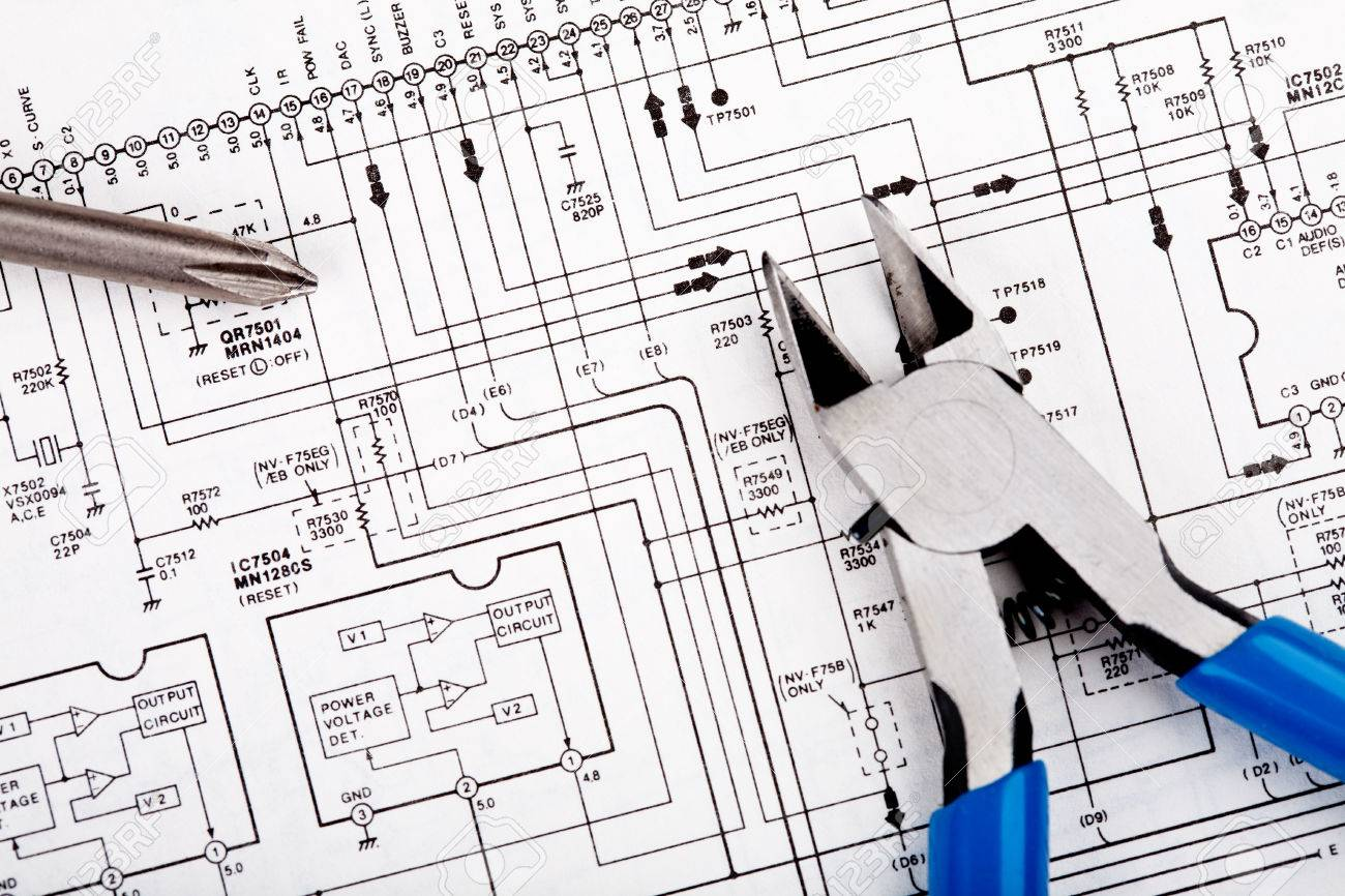 Screwdriver And Nippers On A Schematic Diagram Background Stock 1300x866