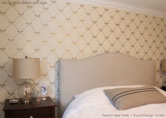 Bee utiful Stenciled Bedroom Accent Wall with the French Bee Trellis 550x392