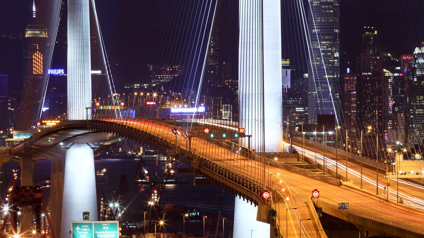 Wallpaper Hong Kong bridge night lights stonecutter bridge hong 1366x768