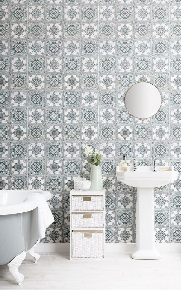 Light Green Portuguese Tile Effect Wallpaper in 2019 Wallpaper 600x960