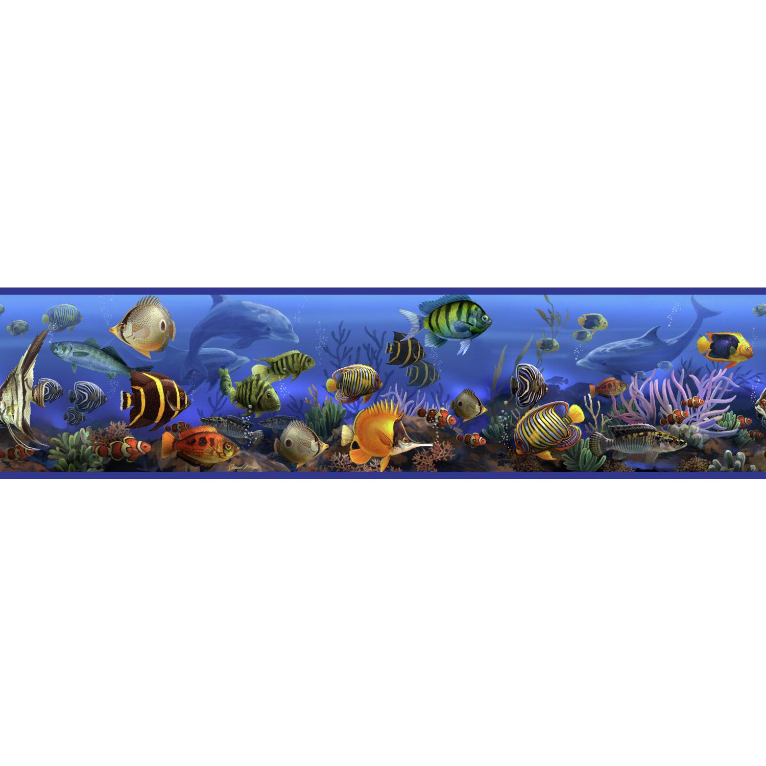 Under The Sea Wallpaper Border Room Wall Decor Ocean Fish Dolphin 1500x1500