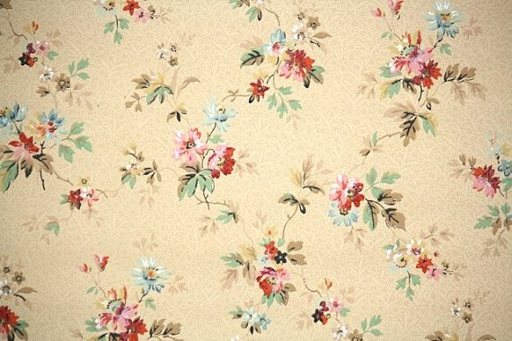 1940s Vintage Wallpaper Pink and Blue floral by HannahsTreasures 18 570x380