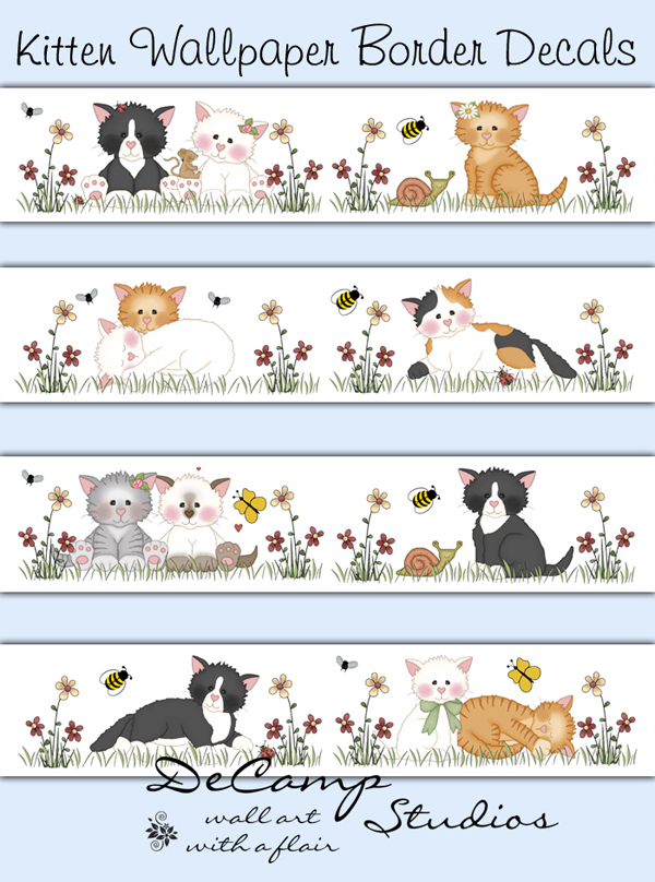 Cat Wallpaper Border Decals Baby Girl Nursery Kitten Kitty Decor [349 600x808
