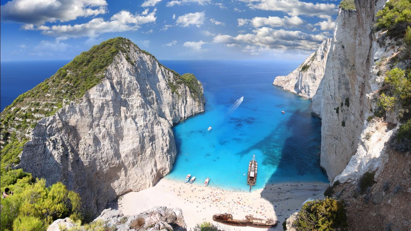 Zakynthos Island Beach Greece Blue Water 4K Wallpaper WallpapersByte 1366x768