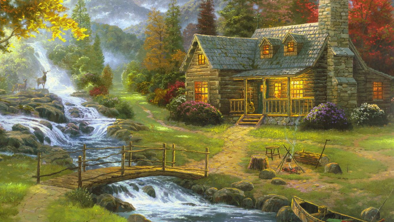 Forest House Guitar Mountain River Wooden Bridge Fire Design Wallpaper 1366x768