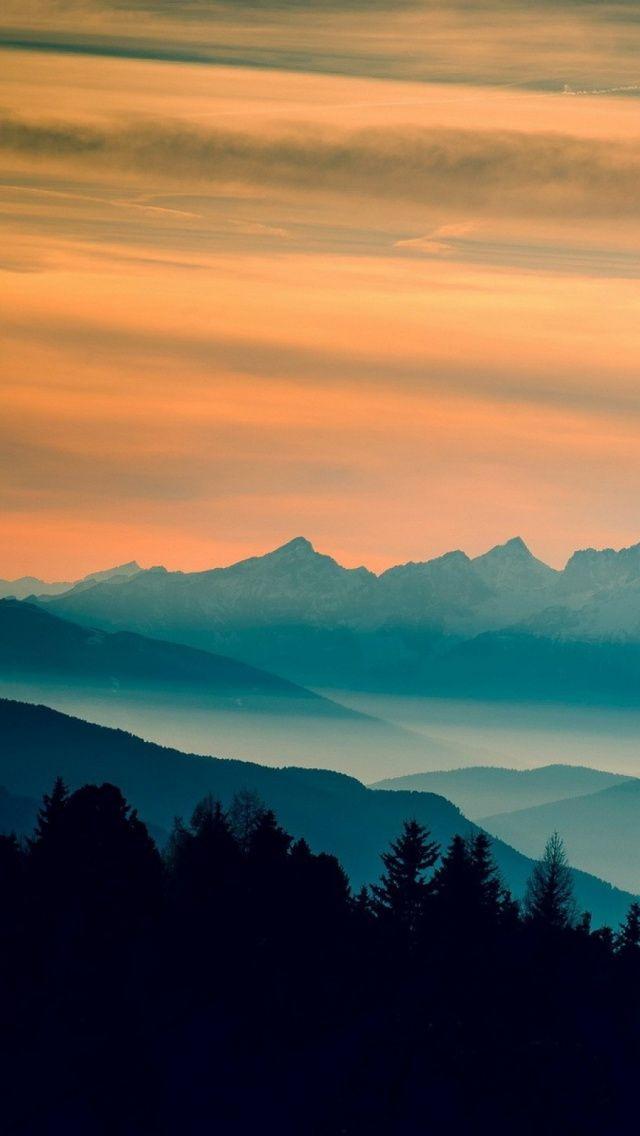 Blue Mountains Orange Clouds Sunset Landscape iPhone 5 Wallpaper 640x1136