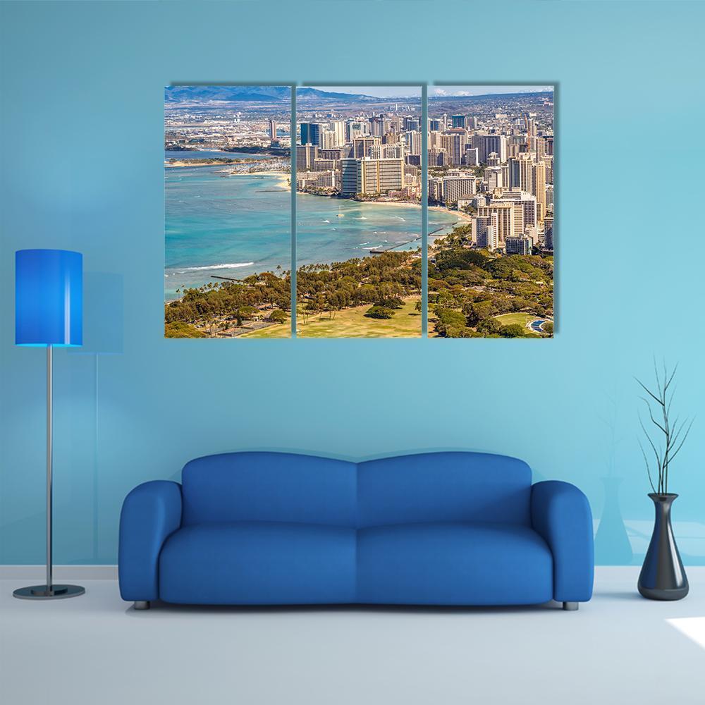 View Of Waikiki Beach And Honolulu Skyline Multi Panel Canvas Wall 1000x1000