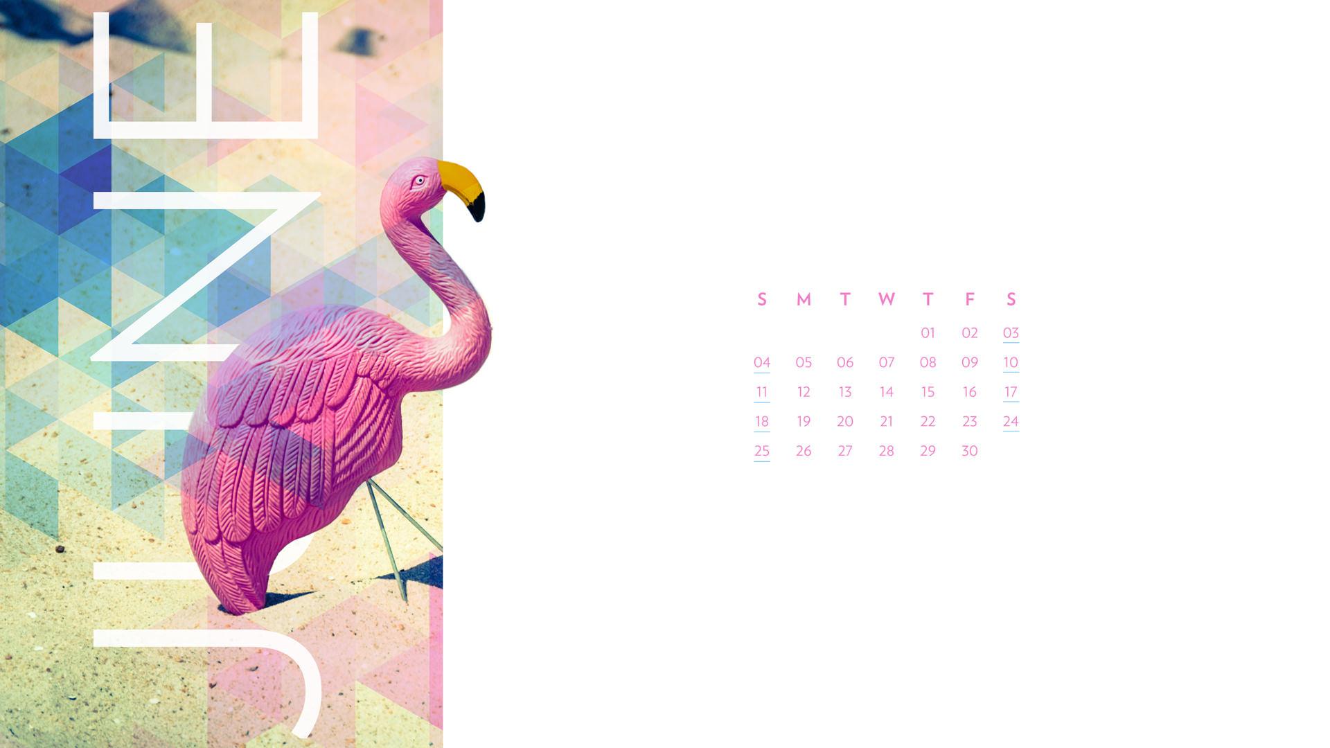 June 2017 Desktop Calendar Wallpaper Paper Leaf 1920x1080