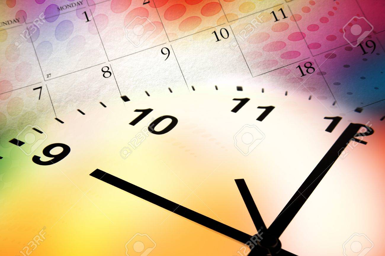 Clock Face And Calendar On Color Background Stock Photo Picture 1300x866