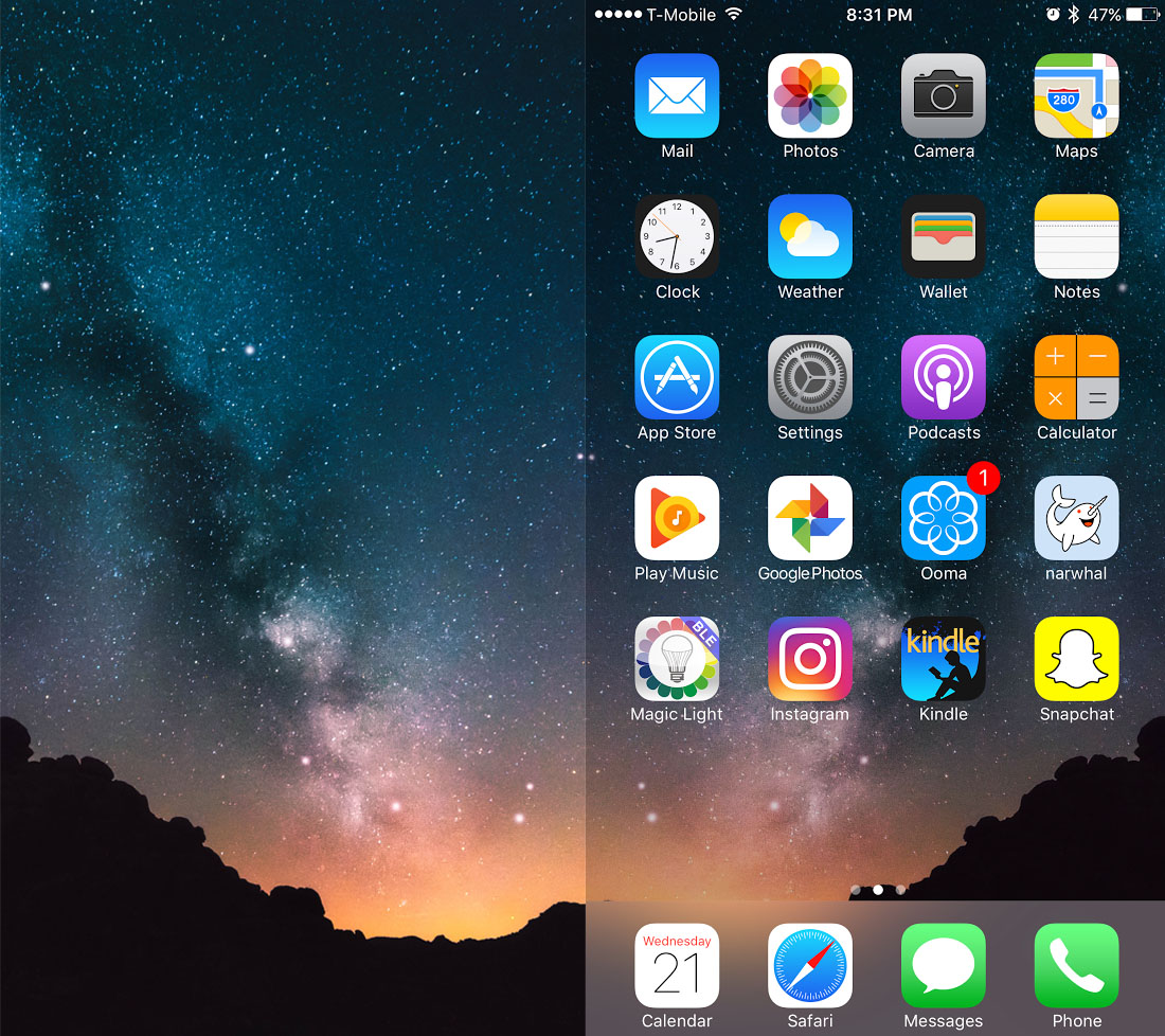 An example of the wallpaper dimming issue in iOS 10 wallpaper in 1100x978