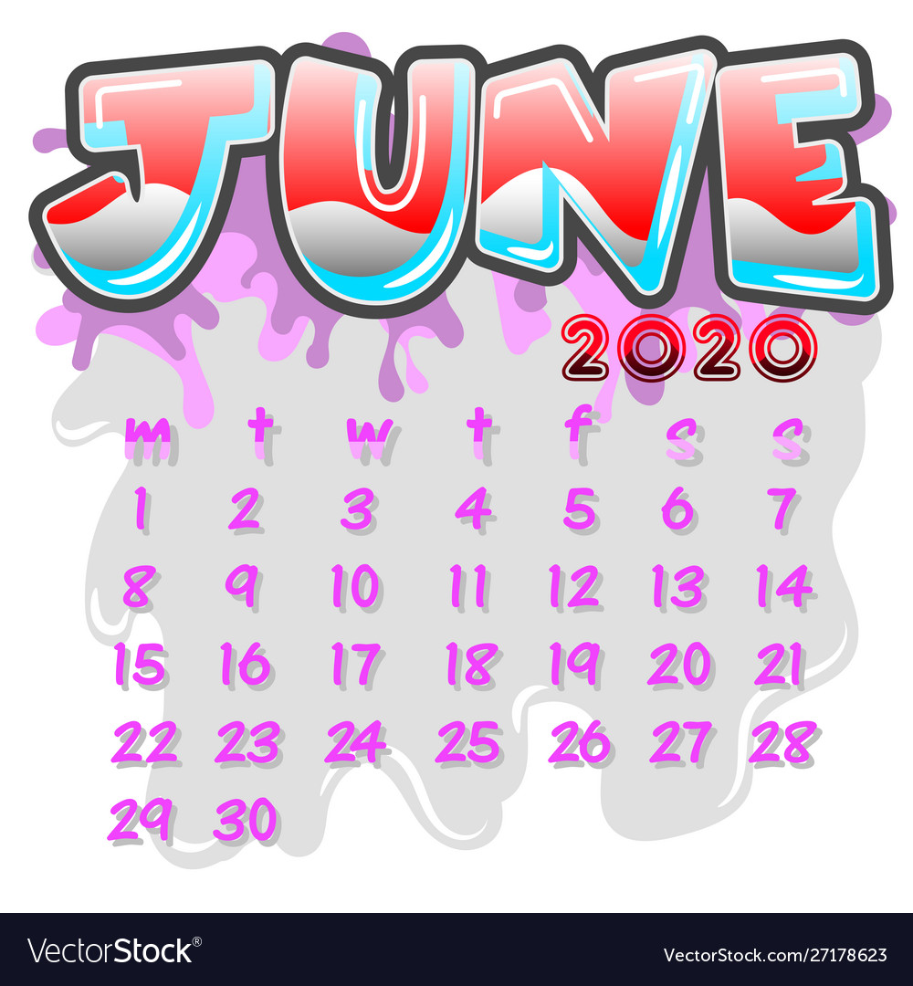 June 2020 month calendar Royalty Vector Image 1000x1080