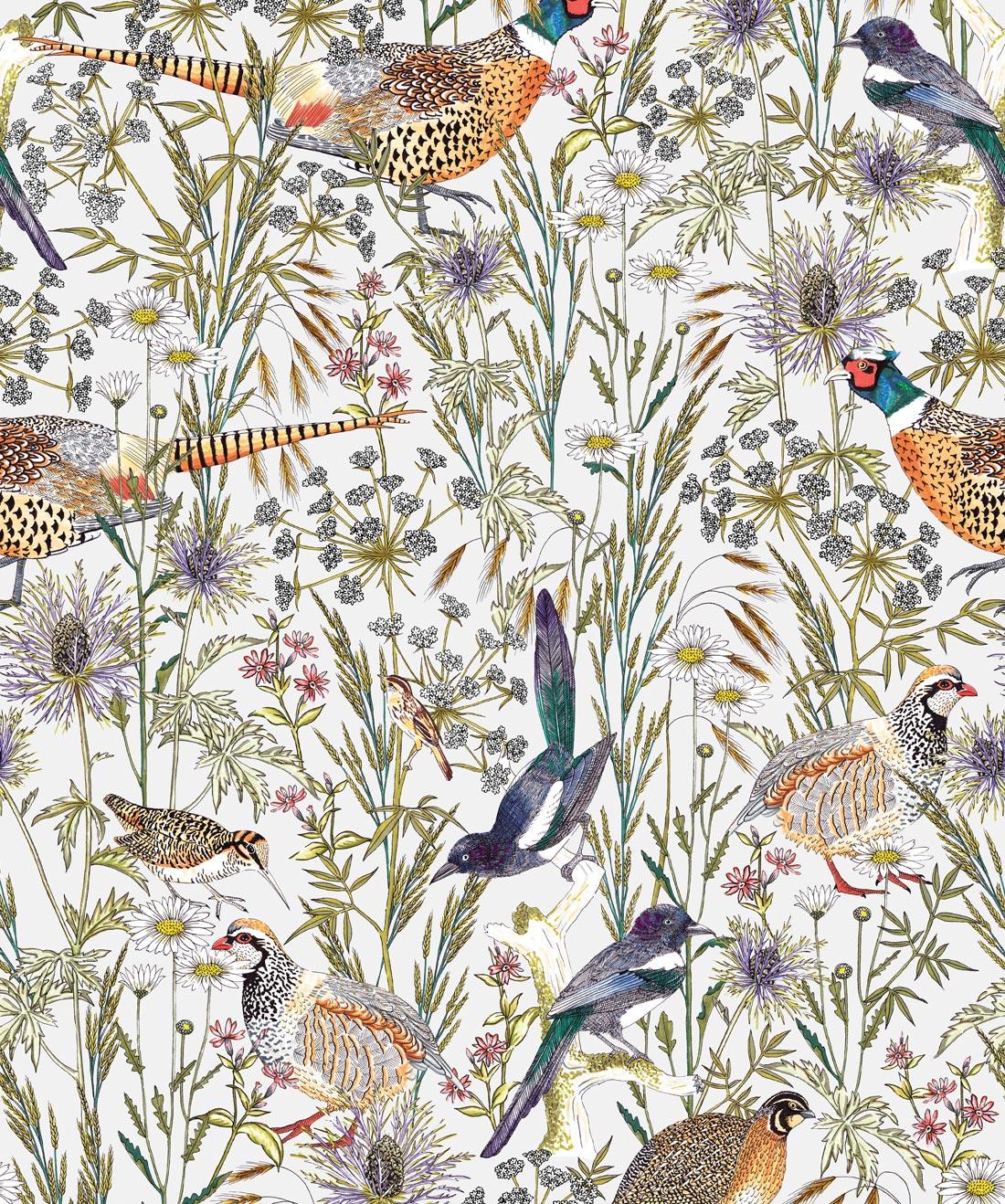 Woodland Birds Lively Botanical Wallpaper Milton King 1100x1318