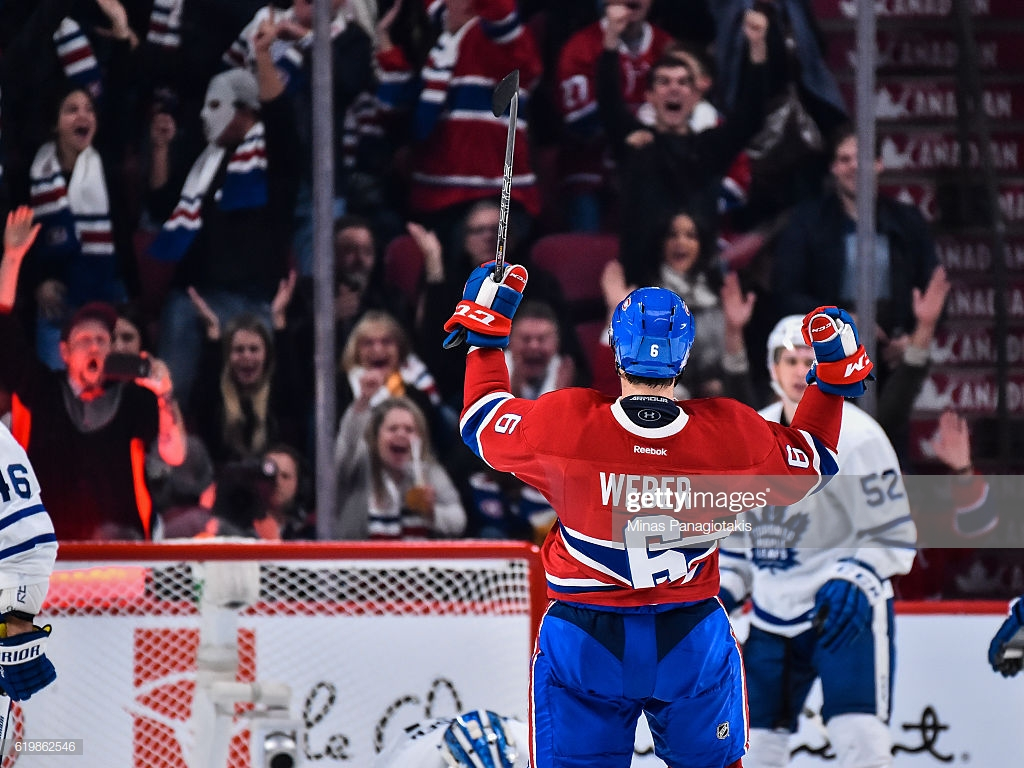 Shea Weber of the Montreal Canadiens celebrates his goal during 1024x768