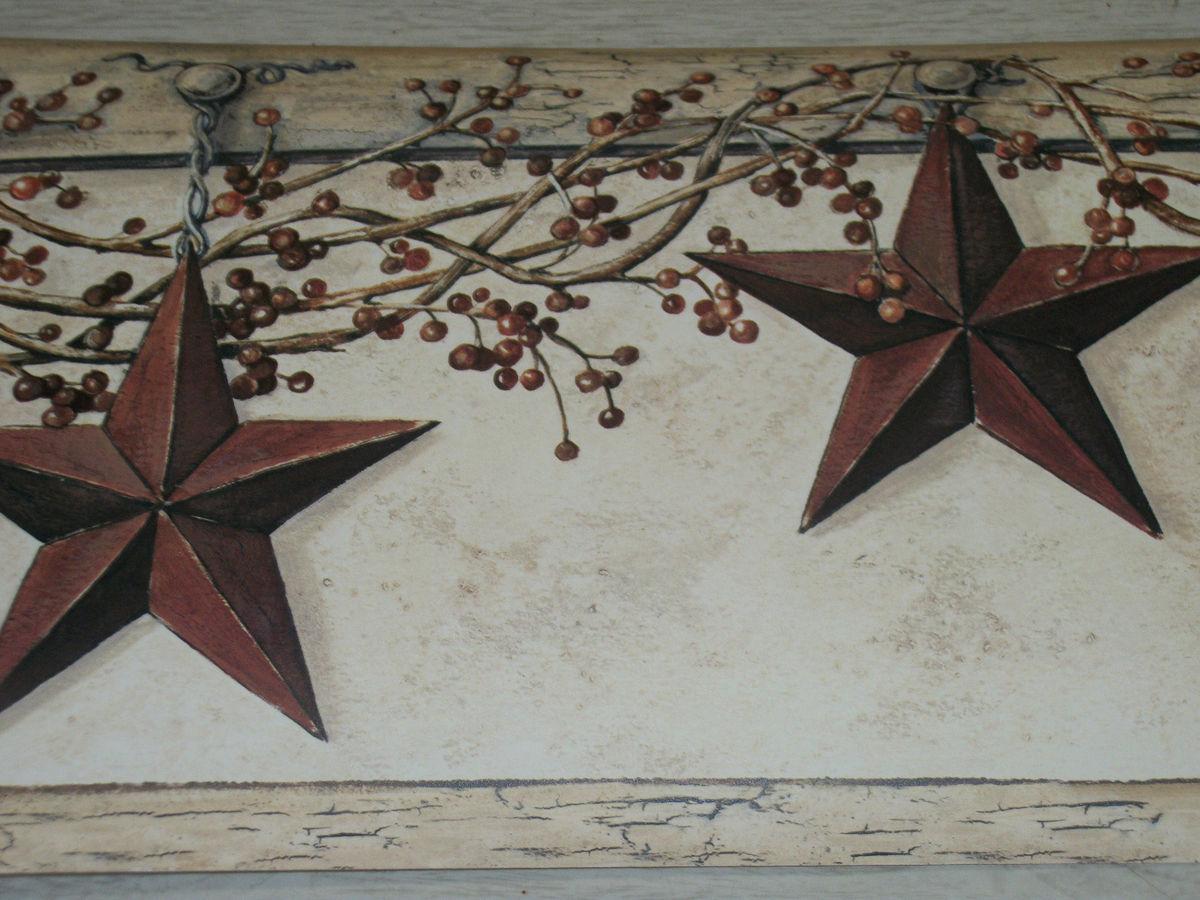 YORK COUNTRY PRIMITIVE HANGING STAR BERRIES WALLPAPER BORDER 1200x900