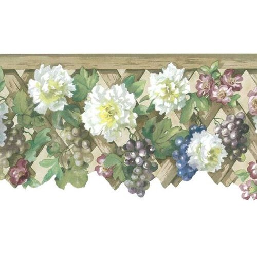 Flowers and Fruit on Lattice Ecru Wallpaper Border in Mulberry 500x500