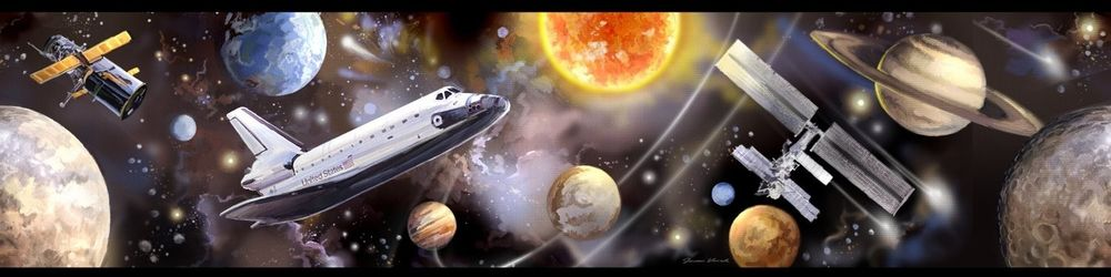 Outer Space Border Wallpaper Room Decor Planets Shuttle eBay 1000x250