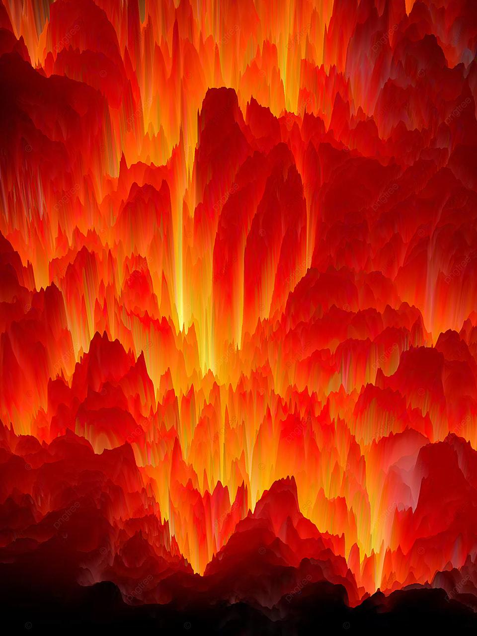 3d Underground Flame Zone Red Background Volcano Background 960x1280