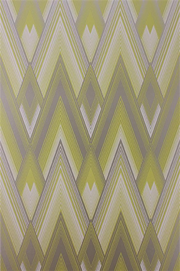 Astoria Wallpaper in Silver and Yellow from the Fantasque 586x885