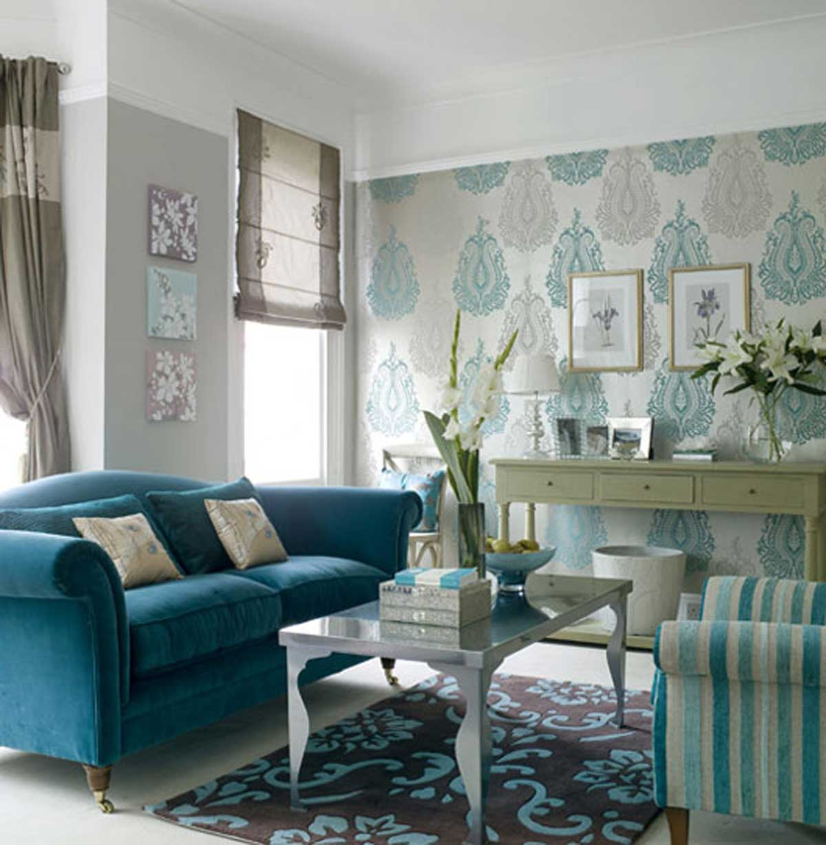Superb Inspiring Blue Wallpaper Small Living Room Decoseecom 1200x1227