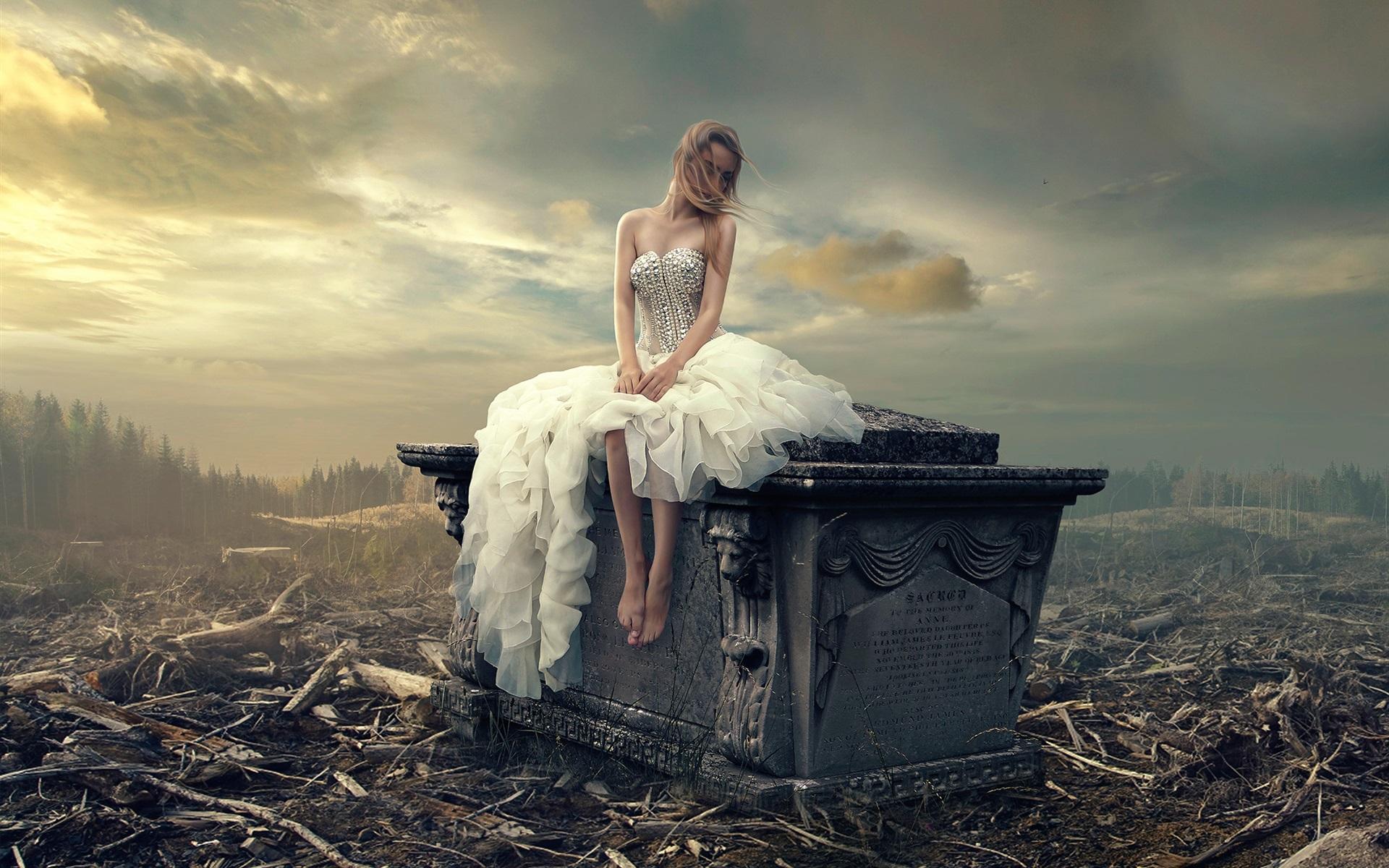 Wallpaper White skirt girl loneliness headstone 1920x1200 HD 1920x1200