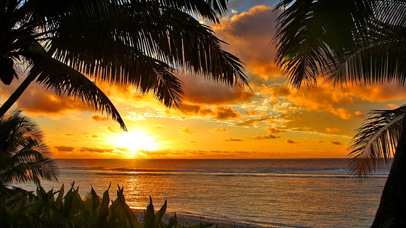 Hd Tropical Island Beach Paradise Wallpapers And Backgrounds: [47+] Tropical Sunset Wallpaper Desktop On WallpaperSafari