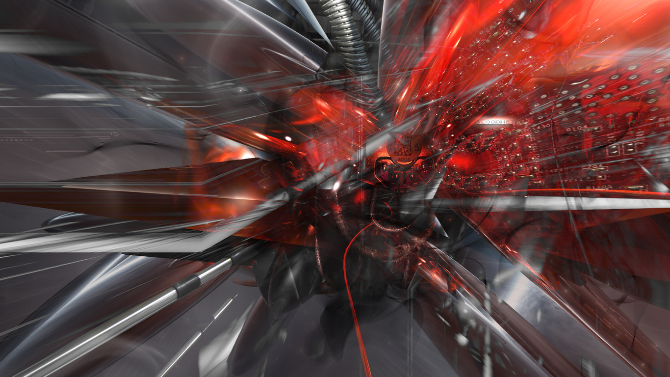 wallpapers Cybernetic Chaos 3D Cyber Chaos Techno 3d photo 3d 1366x768