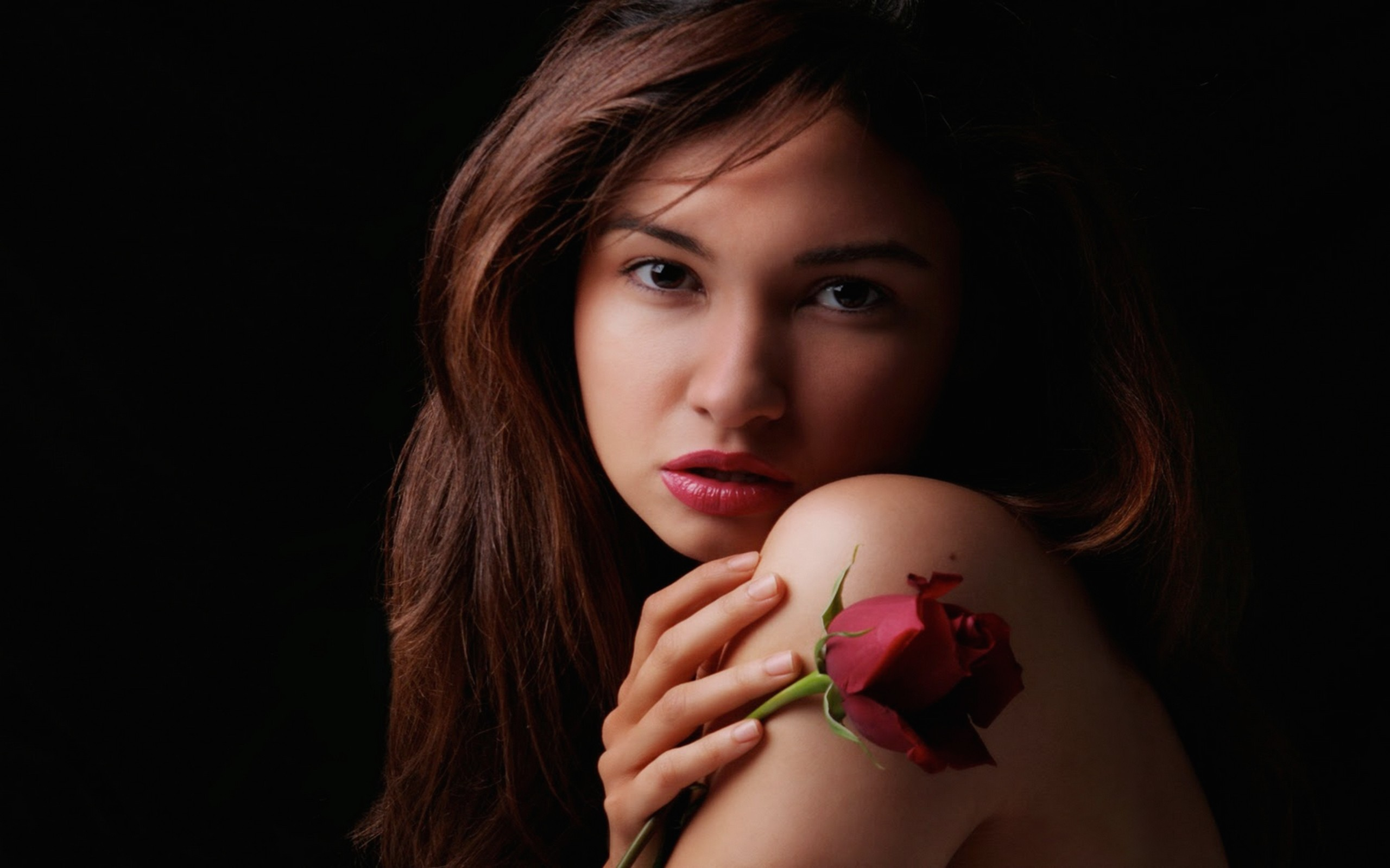 2560x1600 Beautiful female with rose desktop PC and Mac wallpaper 2560x1600