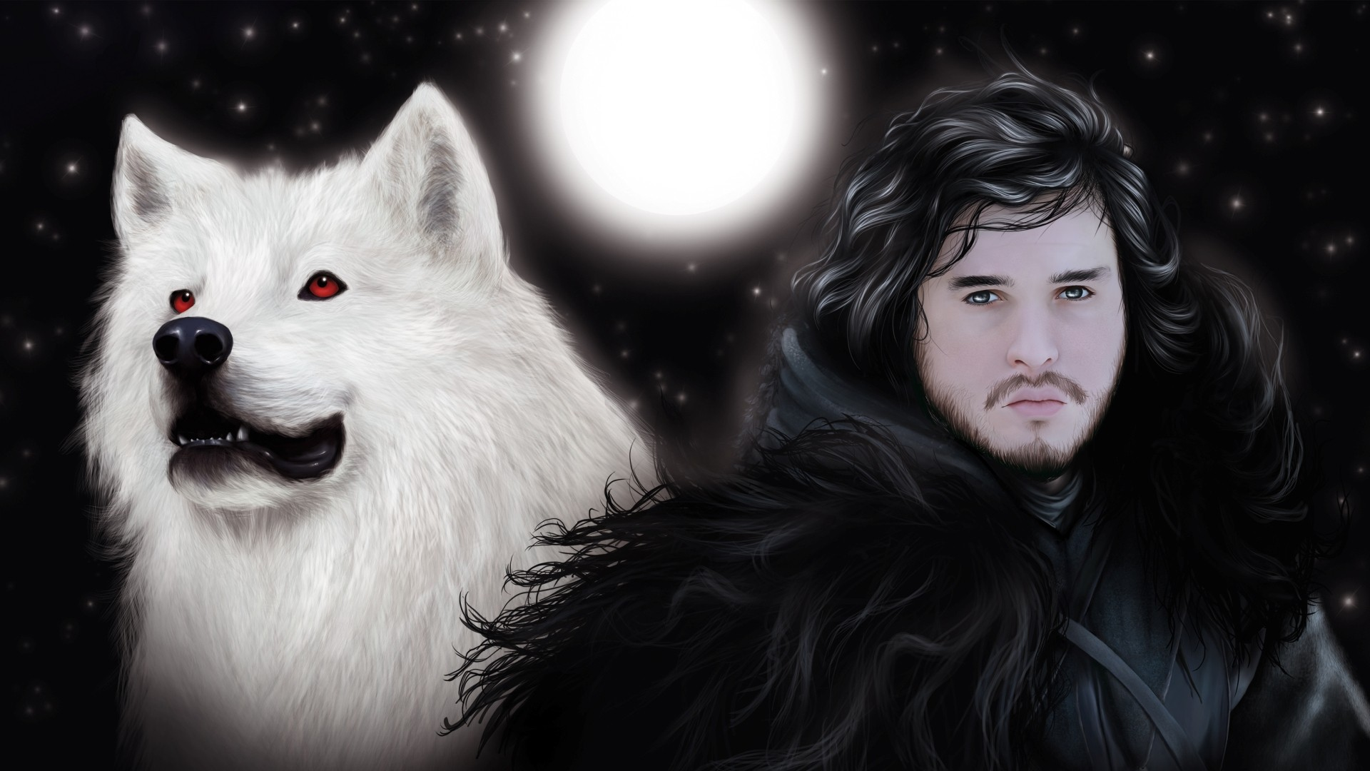 Artwork Game Of Thrones Jon Snow Wolves Wallpaper 1920x1080 218001