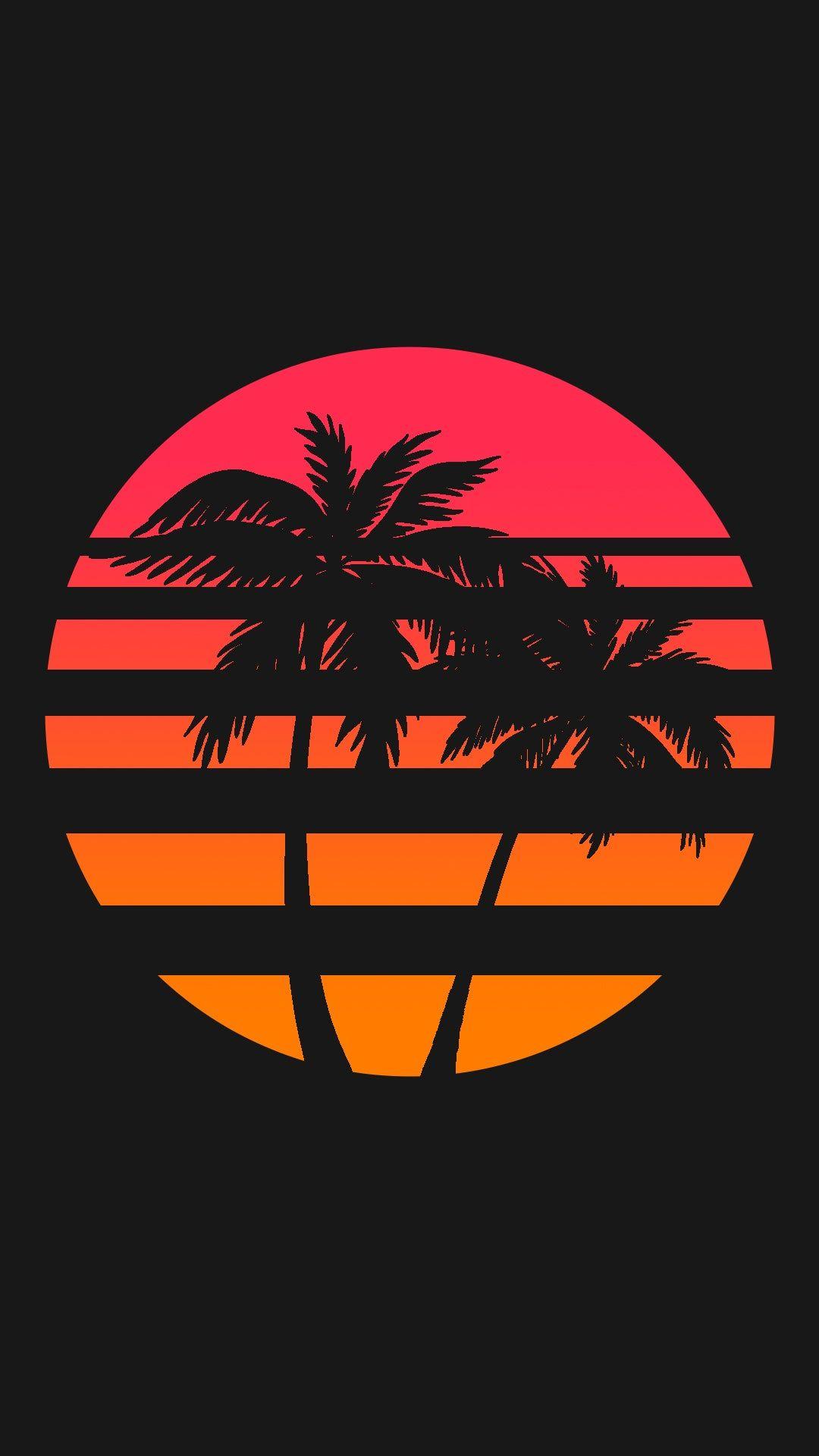 1080x1920] Retrowave Palm Sun Black phone wallpaper Phone 1080x1920