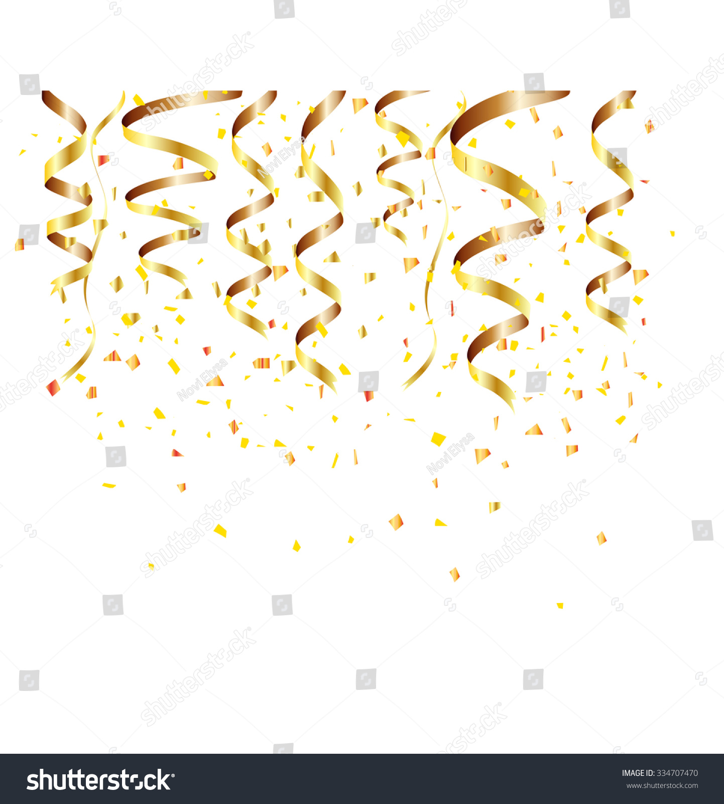 Happy New Year Background Golden Confetti Stock Vector 1442x1600