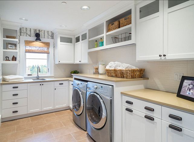 Laundry Room Cabinet Ideas This laundry room features birch wallpaper 642x470
