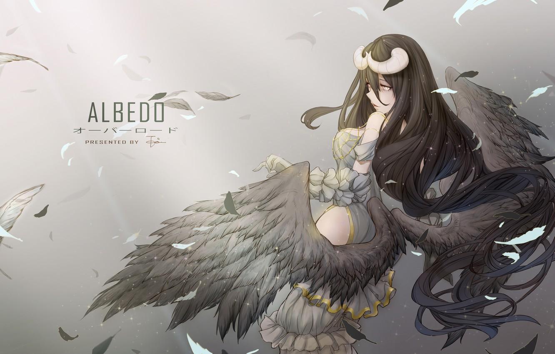 Wallpaper girl wings anime feathers art horns albedo 1332x850